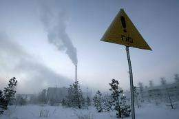 """A sign reading: """"Gas!"""" in -40 degree celcius weather in Novy Urengoi, just below the Arctic Circle"""