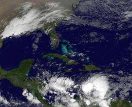 GOES-13 catches Tropical Storm Tomas' early morning strengthening