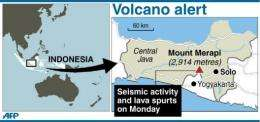 Map showing the location of the volcanic Mount Merapi in Indonesia