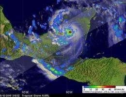 NASA eyes Karl, now a hurricane in the Gulf of Mexico