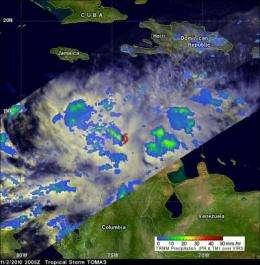 NASA's TRMM satellite sees Tomas' power fluctuate