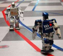 Participants in the first robot marathon, where the toy-sized humanoids were due to run 42.195 kilometres over four days