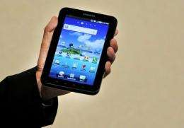 """Samsung's new tablet device, the """"Galaxy Tab""""   uses Google's Android 2.2 operating system"""
