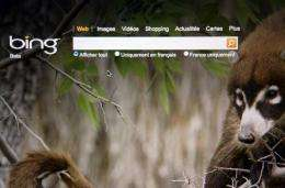 The front page of the new Microsoft search web engine Bing