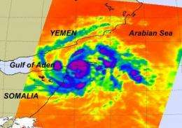 NASA's Aqua satellite sees Tropical Storm 02A's high thunderstorms