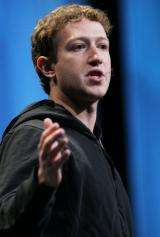 Facebook founder and CEO Mark Zuckerberg delivers the opening keynote address at the f8 Developer Conference