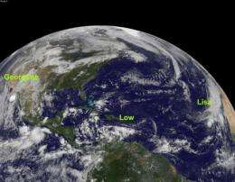 GOES-13's wide view of Atlantic's Tropical Storm Lisa and low, Pacific's Georgette