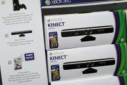 Microsoft's new Kinect controller for the Xbox 360 is seen on a shelf in 2010