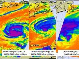NASA's MODIS and AIRS instruments watch Igor changing shape, warming over 3 days