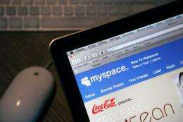 The homepage of MySpace is pictured on a laptop computer screen