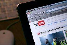 The internet homepage of the YouTube websit