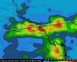 TRMM satellite rainfall map of Cyclone Ului's Queensland flooding