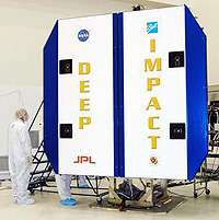 Deep Impact's solar panels are opened for testing. Credit: NASA