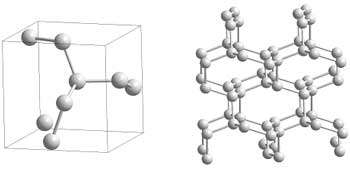 Polymeric cg-N-structure: Each nitrogen atom is connected to three neighbours by three single covalent bonds.