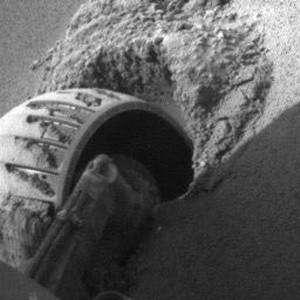 Opportunity's left front wheel. Image credit: NASA/JPL