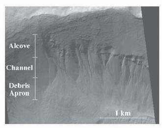 Portion of MOC image M17-00423 showing the alcove, channel, and debris apron structures of recent gullies on Mars. Scale bar is