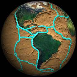 The Earth's crust is broken into a mosaic of moving tectonic plates.