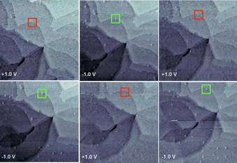 Sequential STM images of FAPPB/R1ATC9 obtained at alternating sample biases of +1.0 and -1.0 V