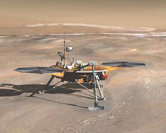 An artist's impression of the Phoenix Mars Lander on the arctic plains of Mars