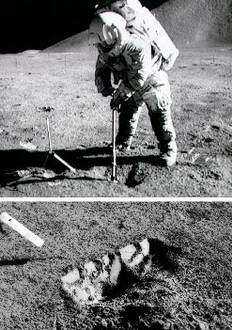 An Apollo 17 astronaut digs a trench to study the mechanical behavior of moondust