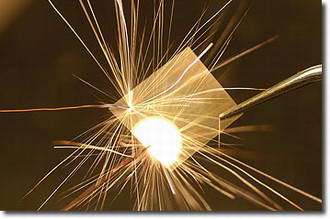 A chemical reaction sparked by an electrical pulse...