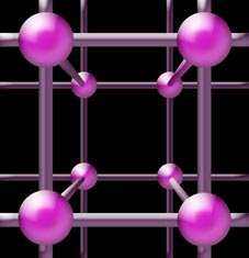 In lattice QCD space-time is approximated by a four-dimensional box of points, similar to a crystal lattice