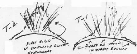 "Dusty ""twilight rays"" sketched by Apollo 17 astronauts in 1972."