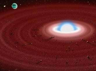 An artist's rendering of what a dust disk might look like around the white dwarf GD 362.