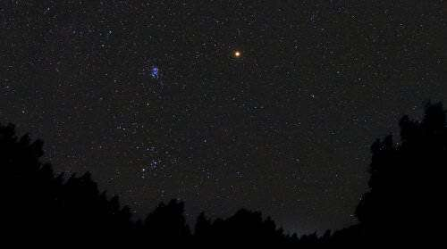 Mars rising over Payson Arizona on Oct. 25, 2005. Credit: Chris Shur.