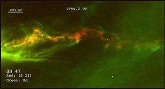 Hubble movies show traffic jam in stellar jets