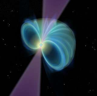 Illustration of a pulsar showing magnetic field lines (cut away) and radio beam.