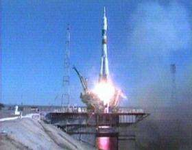 The Soyuz rocket carrying Expedition 14 lifts off from the Baikonur Cosmodrome in Kazakhstan