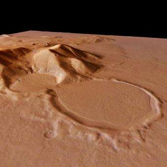A perspective view obtained by the HRSC on board ESA's Mars Express