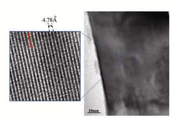 An electron micrograph of lithium nickel manganese oxide