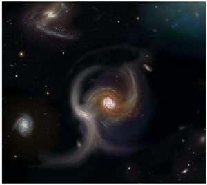 Collision Between Galaxies (Artist's Impression)