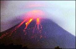 The Mount Merapi volcano spews lava