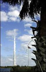 The New Horizons spacecraft atop an Atlas V rocket lifts-off at the Kennedy Space Center