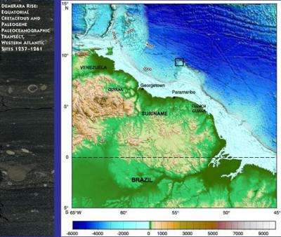 Box on the map shows where the core samples were collected off Suriname