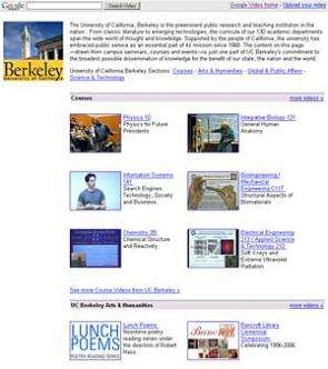 UC Berkeley offers courses and symposia through Google Video