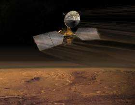 Artist concept of Mars Reconnaissance Orbiter during aerobraking