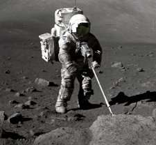 "Apollo 17 geologist Harrison ""Jack"" Schmitt scoops up some oxygen-rich moon rocks and soil"