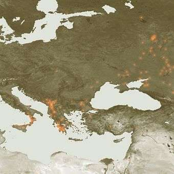 European hot spots and fires identified from space
