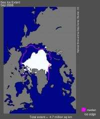 Arctic Sea Ice Extent, September 2008