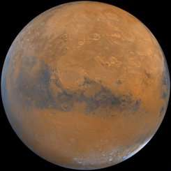 A handout image received courtesy of the US Geological Survey shows planet Mars