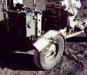 Apollo 17 moonbuggy fender repaired with duct tape.