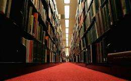 A man browses through books at a library