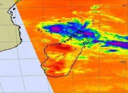 Aqua satellite sees Tropical Storm Bongani approaching Mozambique Channel