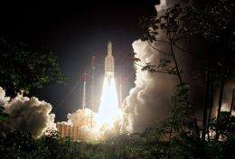 Europe's Spaceport Ariane 5 rocket gets launched in Kourou, French Guyana