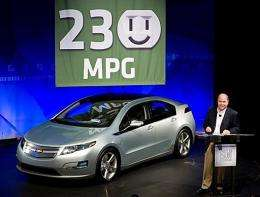 General Motors President and CEO Fritz Henderson announces the Chevrolet Volt extended-range electric vehicle