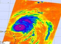 NASA's QuikScat sees category 3 Hurricane Bill's winds go a long distance